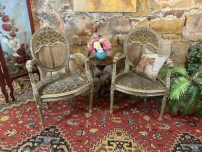 Superb Pair Antique French Louis XV Style Chairs~Armchairs~Fautenil Bergeres