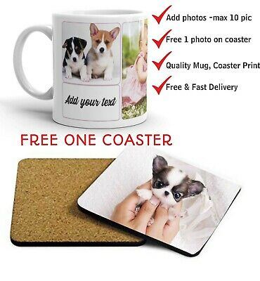 PERSONALISED MUG COLLAGE PHOTO ADD ANY TEXT GIFT TEA COFFEE CUP + Free Coaster