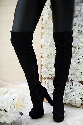 Womens Ladies Chunky Block High Heel Zip Over The Knee Thigh Boots Size 3-8 New