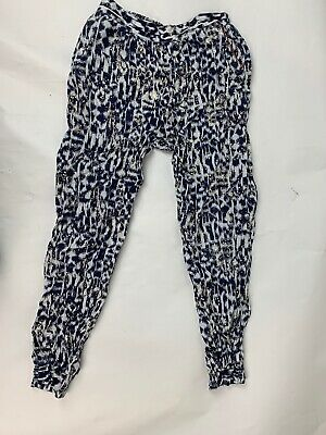 Monsoon girls Blue White Gold Trousers Loose Fit Age 9-10 Years Party Harem