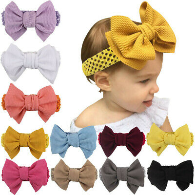 Handmade Baby Girl Large Bow Headband Infant Toddler Knot Hair Band Head Wrap LI