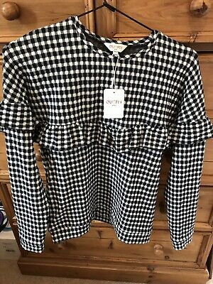 OUTFIT Kids New With Label Black&white Check Long Sleeve Top 12y
