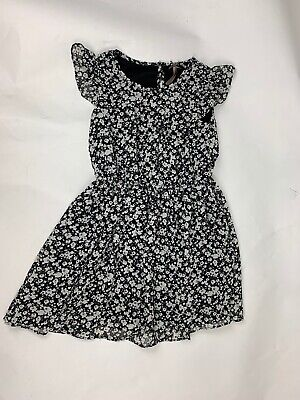 Next Girls Party Dress Age 6 Ditzy Floral Black White Short Sleeve Lined Skirt