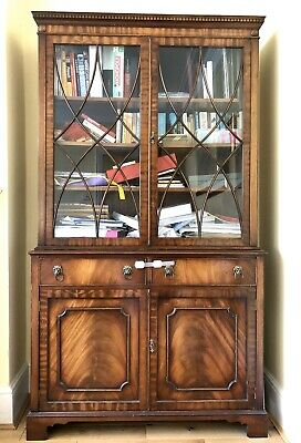 Antique Crafts Style Mahogany glazed dresser display cabinet sideboard Bookcase