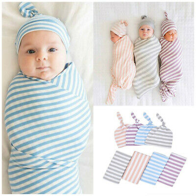 Baby Infant Swaddle Wrap Hat Outfits Blanket Sleeping Bag For 0-3 Months Muslin