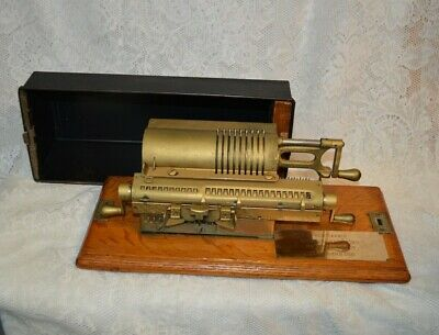 Antique Rapid Calculator Adding Machine on Base with Lid