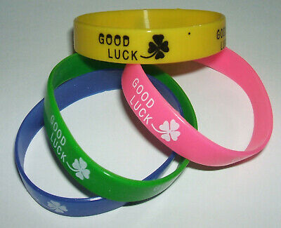 JOB LOT (A) - 12MM WRISTBANDS - GOOD LUCK, PINK, YELLOW, BLUE, GREEN (pack of 4)