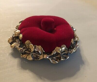 Vintage Pin Cushion Red Velvet and Gold Metal