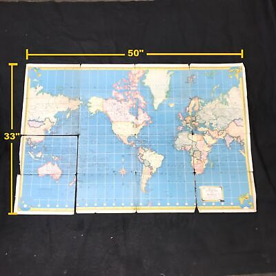 Vintage Hammonds Supreme Map of the World / United States Topographic Map