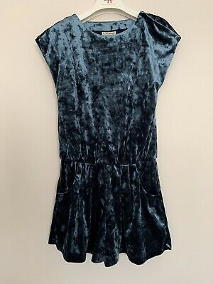 Girls NEXT Age 6 Years Playsuit Blue Velvet Party Outfit BNWT RRP £16