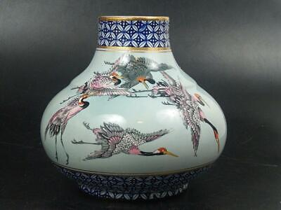Japanese Satsuma Vase Decorated With Flying Cranes Early 20th Century