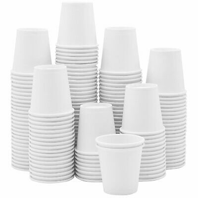 [300 Pack] 3 oz. White Paper Cups, Small Disposable Bathroom, Espresso, Mouthwas