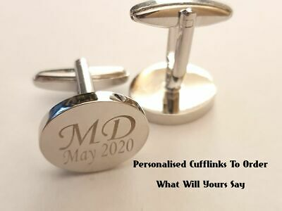 Cufflinks Silver Oval Personalised Engraved To Order Cuff Link Gift Wedding