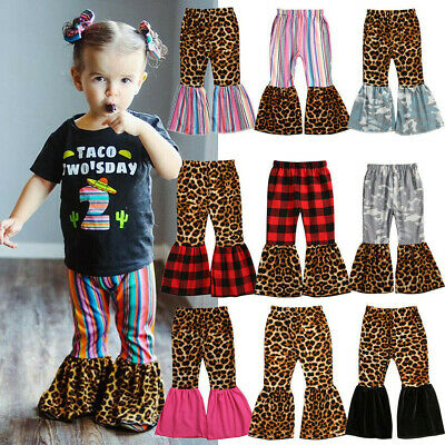 Toddler Kids Baby Girls Leopard Print Pants Trousers Bell-bottoms Long Pants US