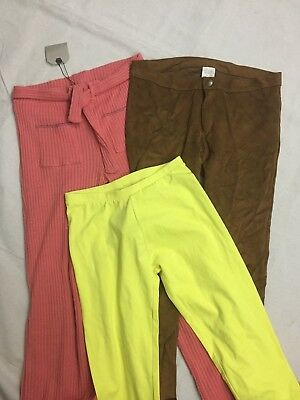 Nwt Lot Of 3 Zara Girls Sz 13/14T Yellow Shorts Rust Ribbed Pants Brown Suede