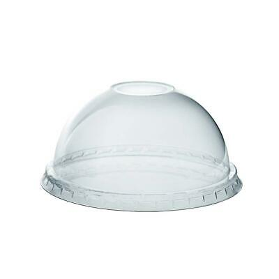 [100 Pack] Crystal Clear PET Plastic Dome Lids With Straw Slot for 12, 16, 20 &