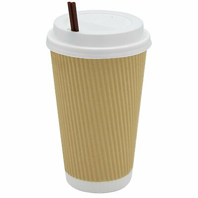 16 oz Insulated Ripple Paper Hot Coffee Cups With Lids & Stirrers