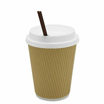 12 oz Insulated Ripple Paper Hot Coffee Cups With Lids & Stirrers