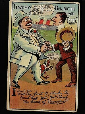 1908 Classic Theodore Roosevelt 3rd Term Cartoon Postcard Oh You Teddy Handshake