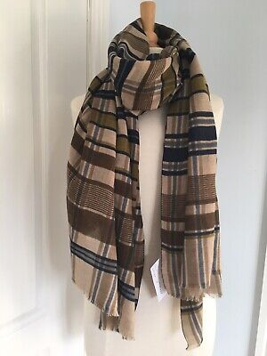 MOISMONT France UNISEX Olive Green Wool Check Wide Scarf Design No. 376 BNWT