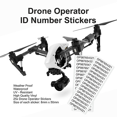 25x Drone Operator ID Number Vinyl Stickers Weatherproof UV resistant 8mmx50mm