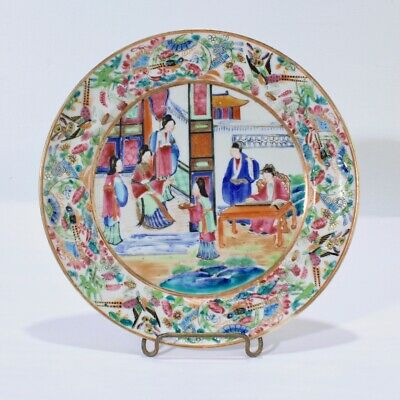 Exceptional Antique Rose Mandarin Chinese Porcelain Plate - Medallion #2 PC