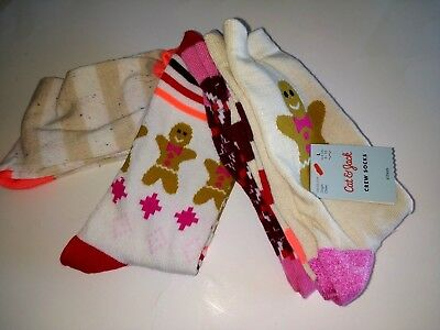 Cat & Jack Girl's Gingerbread Christmas Holiday 4 Pair Crew Socks size 3-10