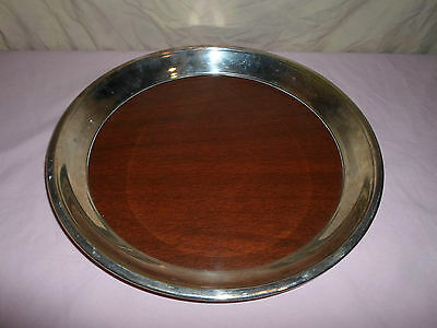 FB Rogers Wood Grain Serving Tray Platter Plate Silverplate Silver Plated Round