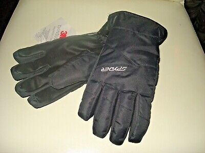 NWT Spyder Boy/'s Overweb Black thinsulate ski Gloves 3 accent colors M L or XL
