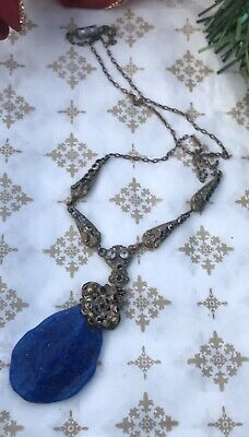 Antique Genuine Victorian Natural Lapis Lazuli Handmade Jewellery Necklace Chain