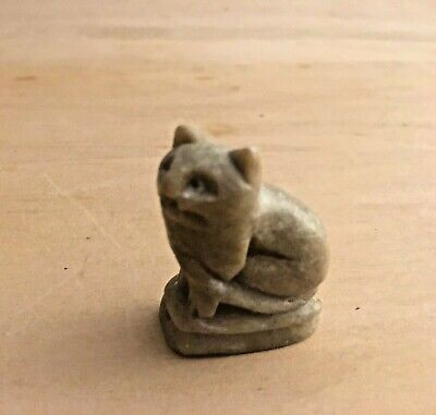 Antique or Vintage Chinese Miniature Carved Hard Stone Sitting Cat
