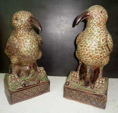 Stunning Pair Of Qing Dynasty Glazed Ceramic  Large Bird Roof Tile Adornments