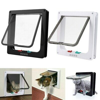 4 Way Pet Cat Puppy Dog Magnetic Lock Lockable Safe Hole Flap Door Gate Frame US