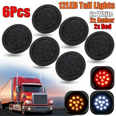 6Pcs 12 LED Trailer Tail Light Indicator Reverse Lamp Red+White+Amber Smoked 12V