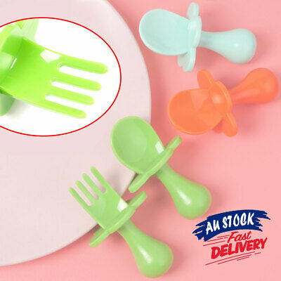 2PCS Cutlery Set Self Feeding Dinnerware Fork AU Baby Training Spoon Toddler