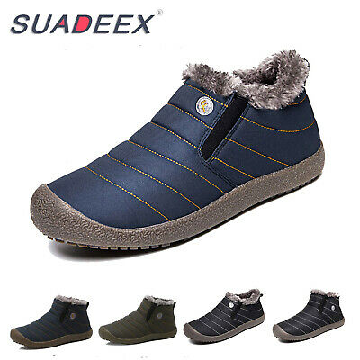 Mens Winter Snow Ankle Boots Slippers Fur Lined Outdoor Waterproof Warm Shoes US