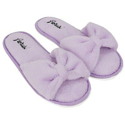 Purple Women Slippers Bedroom Indoor Spa Shoes Bowknot Open Toe House Shoes 6-10
