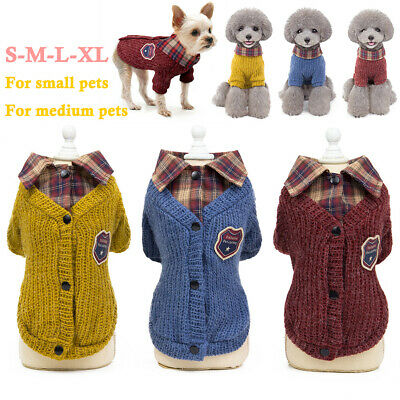 Pet Dogs Puppy Lapel Jumper Sweater Funny Cat Clothes Old School Style Costume