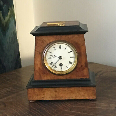 Antique burr walnut ebonized mantle pendulum clock 22cm x 20cm x 12cm  working