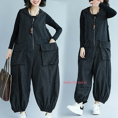 Oversize Women Loose Stripes Jumpsuit Hooded  Rompers Cotton Overall Pants Zsell