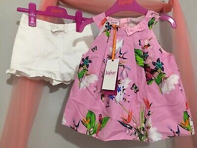 New Girls Designer Ted Baker Pink Floral Oasis Print Top Shorts Outfit 3-4yrs