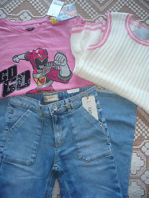 BNWT Next Girls Bundle/ Jeans/ Power Rangers T-shirt & Knitted Top/ Age 11 years