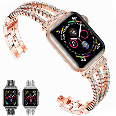 Bling Diamond Women Watch Band Strap For Apple iWatch Series 5 4 3 2  1 40 44mm