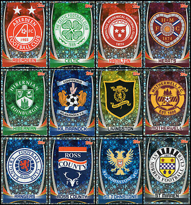 Topps Spfl Match Attax 2019/20 19/20 Full Set Of 12 Foil Premiership Club Badges