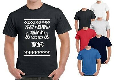 Merry Christmas Grandad Love From Personalise with Name  Mens T Shirt