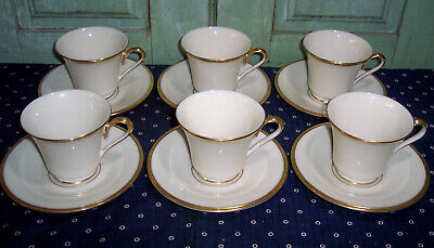 6 Lenox Eternal Dimension Collection Ivory w/Gold Trim Coffee Cups & Saucers