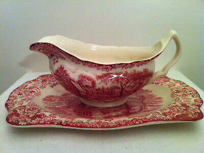 "gravy boat Johnson Bros England ""Mill Stream"" red used, ironstone Sauciere Sosse"