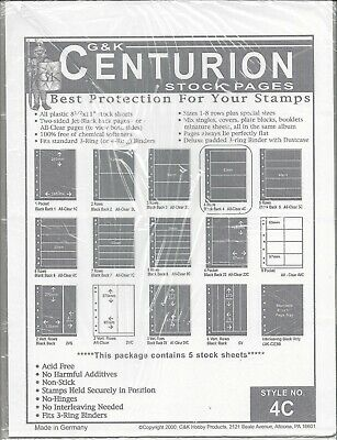 Centurion (G&K) Stock Sheets 4C One-Sided Four Horizontal Pockets Clear Pkg. 5