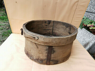 Antique Primitive Old Big Wooden  Cup Bowl Measurment Grain Or Flour Krina 19Th
