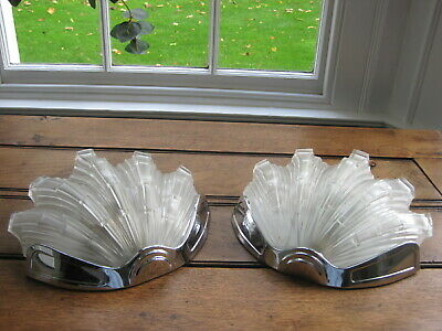 Pair of Vintage Art Deco Odeon Clam Shell Wall Lights D
